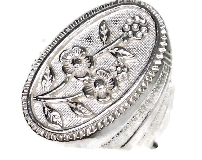 oval flower ring Anti-Tarnish Silver Band (Size  8 . 5)