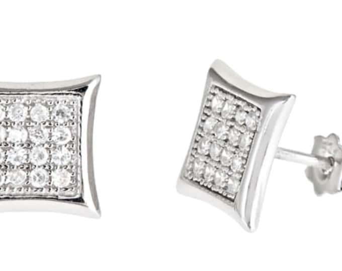14k White gold layer Medium size Square kite CZ .925 Sterling Silver Micro Pave Earrings