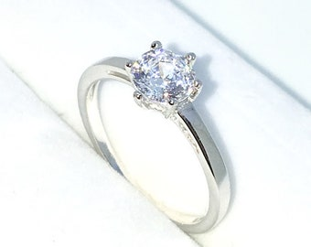 New Handcraft White Gold Plated on Sterling Silver thin engagement ring band with 6 prong white round CZ