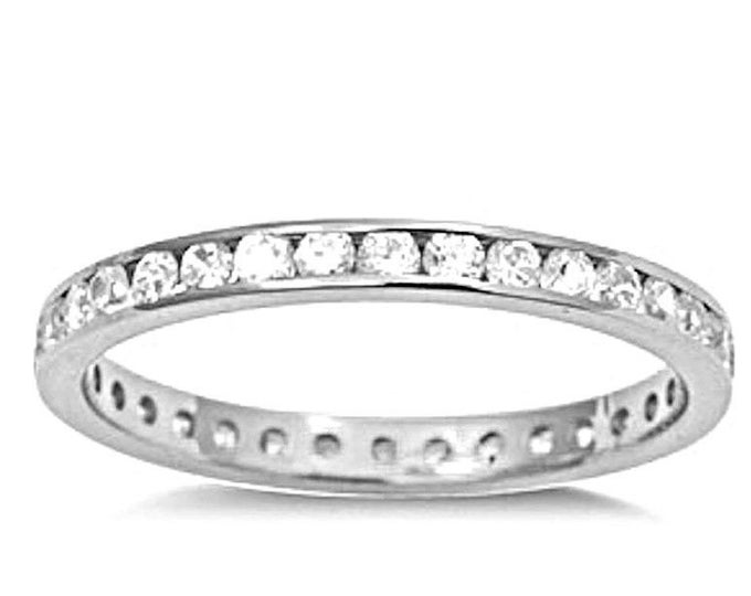 14k w gold layer on sterling silver wedding 1.00ct- cz eternity ring band size 9