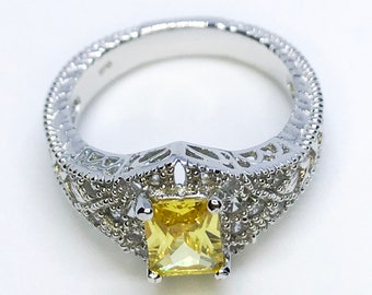 NEW 14K White Gold Layered on Sterling Silver Rectangle Yellow Stone Ring