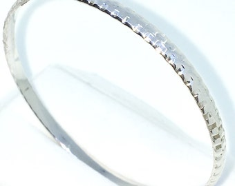 New White Gold Layered on 925 Solid Sterling Silver Bangle Bracelets Plain Square block pattern slip in