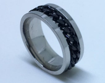 7 . 9 mm Brand New White Gold Plated with Spinning Black Center Line on Stainless Steel ring band