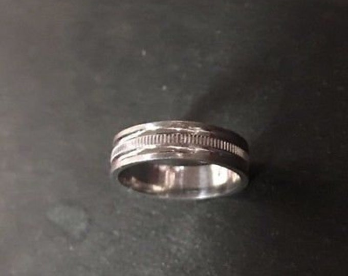 14k white gold layer on sterling silver wedding edge cut unisex ring band 5mm s8