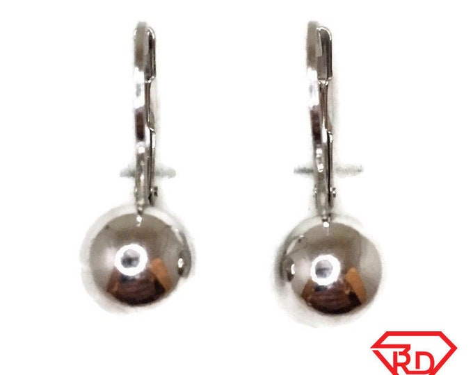 Brand New white gold on 925 Silver Dangle Drop Earrings smooth sphere ball ( 8 . 0 mm )