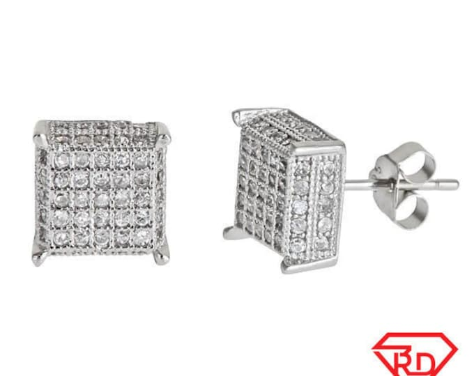 Median size Platinum Layered on .925 Sterling Silver Square shape Micropave Stud Earrings