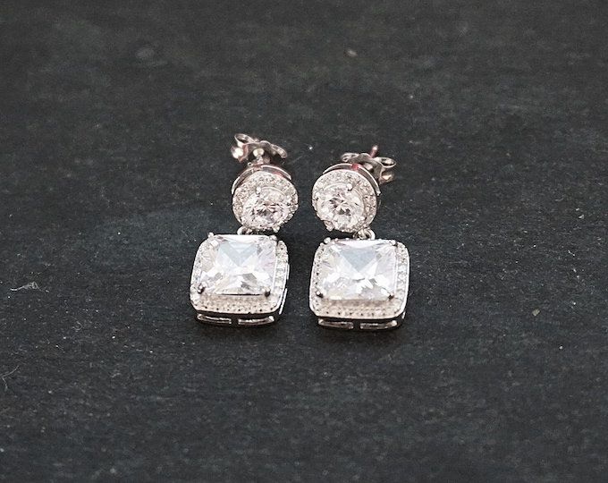 New 14k White Gold on 925 Sterling Silver Wedding Statement Square Drop CZ Earrings ( 1 0 . 8 mm )
