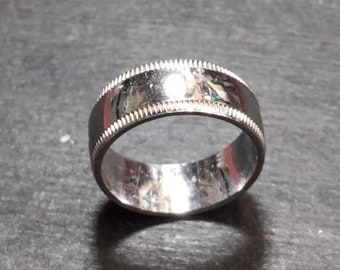 New 14k white gold layer on silver handmade wedding plain ring band 7.0mm s5.75