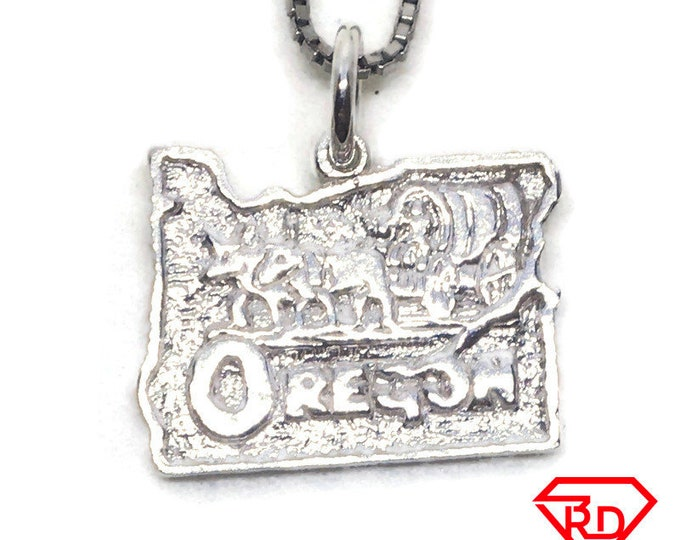 Oregon State charm pendant 925 Sterling Silver