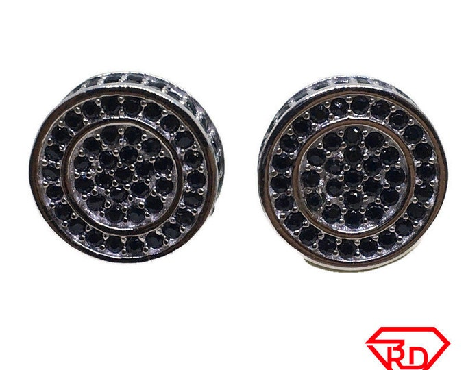 round black CZ stud Large Earrings white gold layer