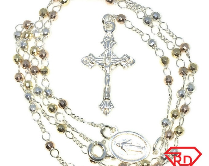 New Multi color Gold Layered 925 Solid Sterling Silver 18 inch Necklace and 4 inch Cross chain Rosary
