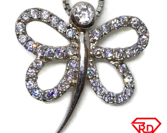 Cubic Zirconia Hollow Butterfly pendant white Gold on 925 silver