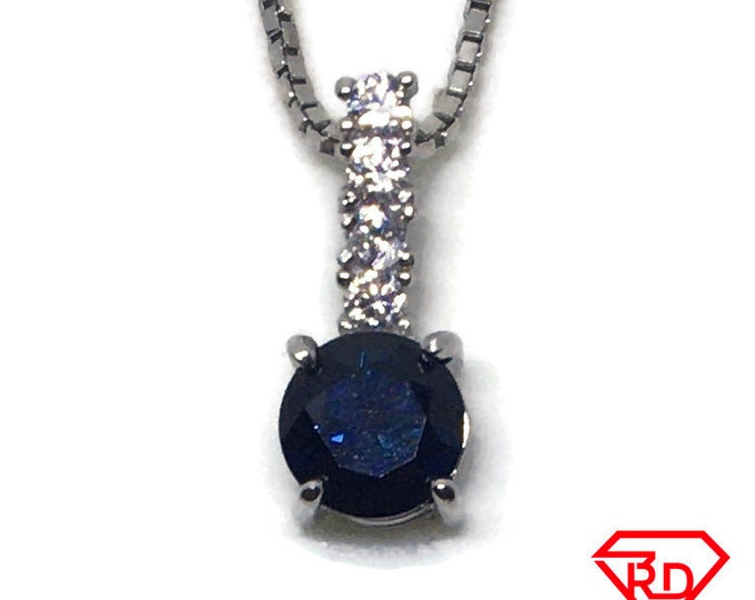 Dark Blue CZ tiny charm pendant White gold on Silver