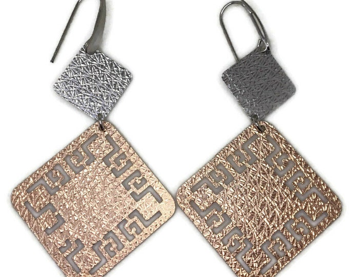 Dangle Drop earrings artistic squares 2 tone gold on silver