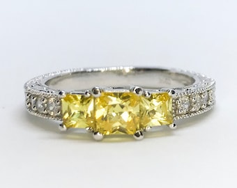 NEW 14K White Gold Layered on Sterling Silver Three Light Yellow Square Stones Ring