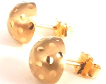 14k yellow gold layer 925 sterling silver half round flat ball stud earring 8 mm