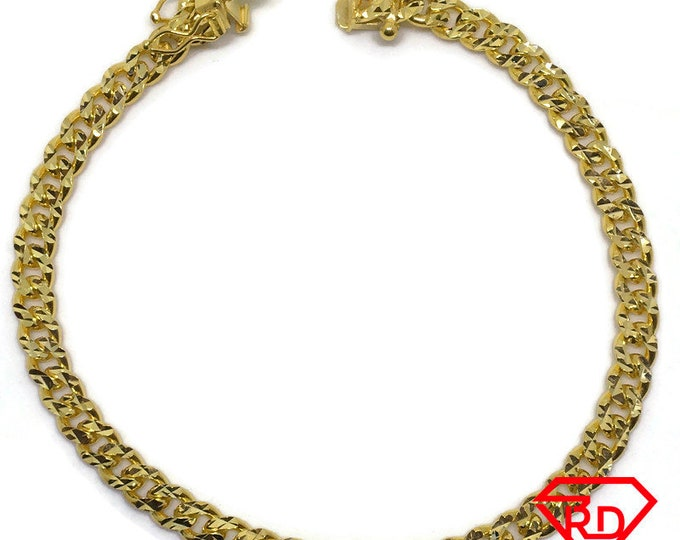 Diamond cut Miami Cuban Chain 8 inch Bracelet 18K Yellow Gold Layer