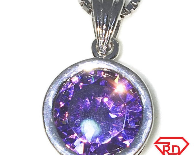 New White Gold on 925 Sterling Silver Pendant Large Bezel Basket Birthstone with round Purple CZ and Silver 16 Inch Chain ( 11 . 5 mm )