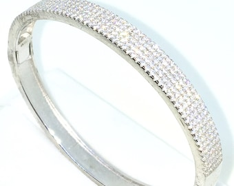 New White Gold Layered on 925 Solid Sterling Silver Oval Wedding Bangle Bracelets smooth Wide rows of white round CZ and Box clasp