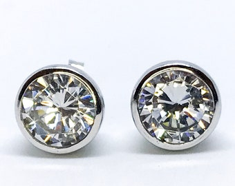 NEW 14k White Gold Layered on Sterling Silver Shiney Cup Stud Earring