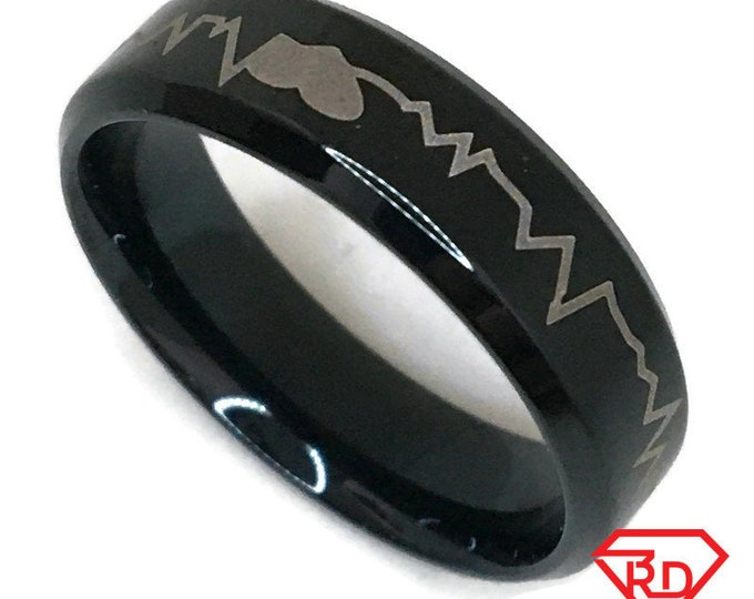 Graph line Ring black gold on Steel (size 9)