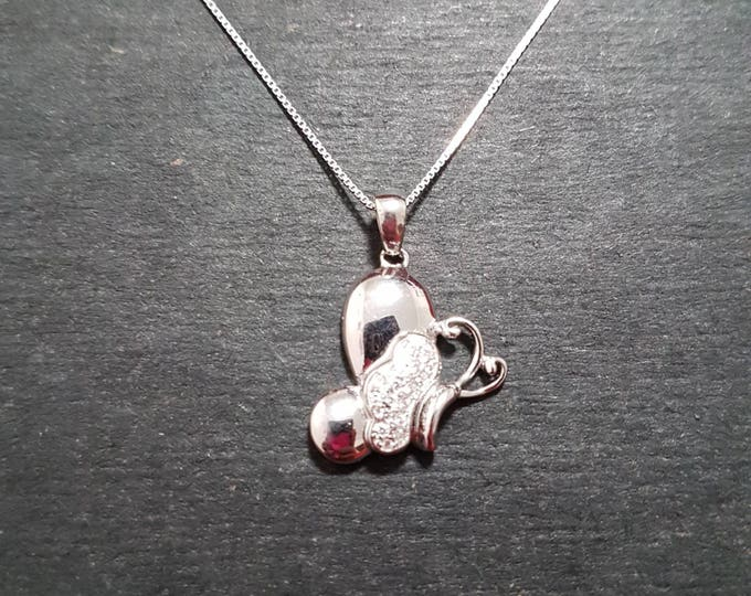 New 14k White Gold On 925 Child Butterfly Pendant Charm