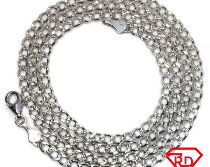 Thin Curb link Chain 22 inch Necklace 925 Silver