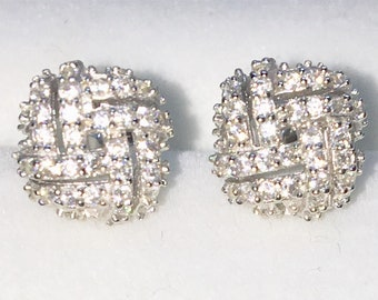 Brand New White Gold on 925 Solid Sterling Silver Square String Knot with white round CZ studs Earrings ( 8 . 2  mm )