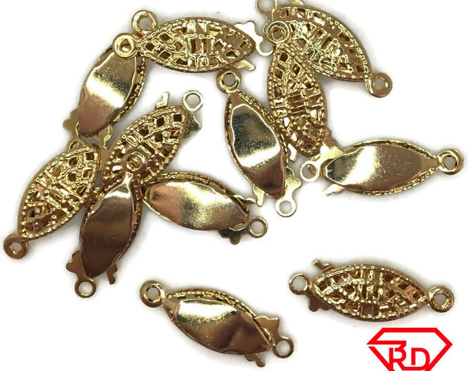 Filigree Clasp jewelry making Gold Rhodium plated 25 pcs
