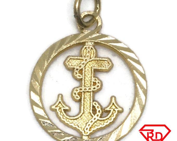 Flat Round Ship anchor 14k yellow gold pendant