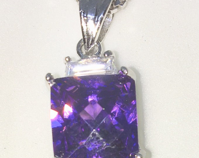 New White Gold on 925 Sterling Silver Pendant Square Birthstone with princess cut Purple CZ and Silver 16 Inch Chain ( 9 . 6 mm )