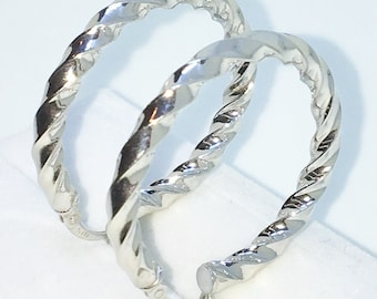 Brand New White Gold on 925 Solid Sterling Silver Plain Full Twisted Cylinder Hoop Earrings ( 30 . 8  mm )