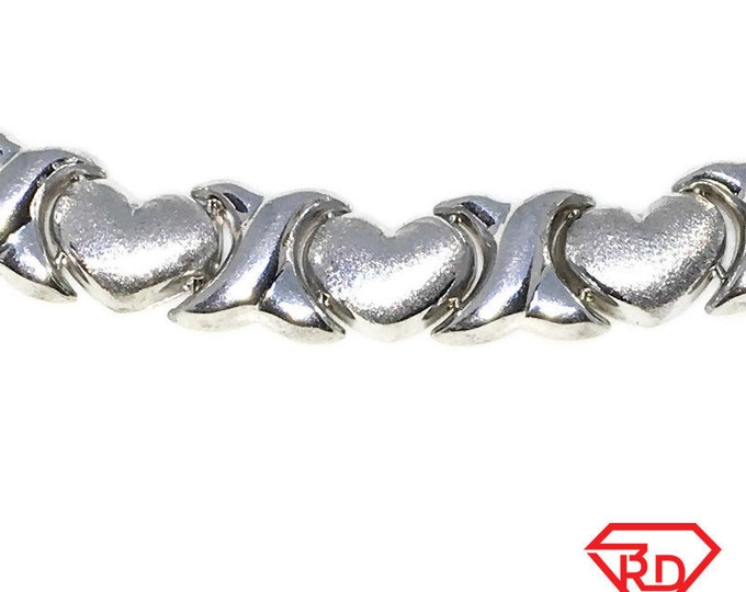 New White Gold Layered 925 Solid Sterling Silver 7 inch Rigid Heart link baby Bracelet with Lobsterclaw clasp