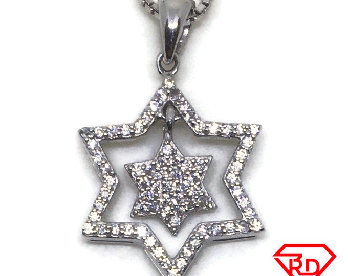 Double Stars CZ charm Pendant White Gold layer