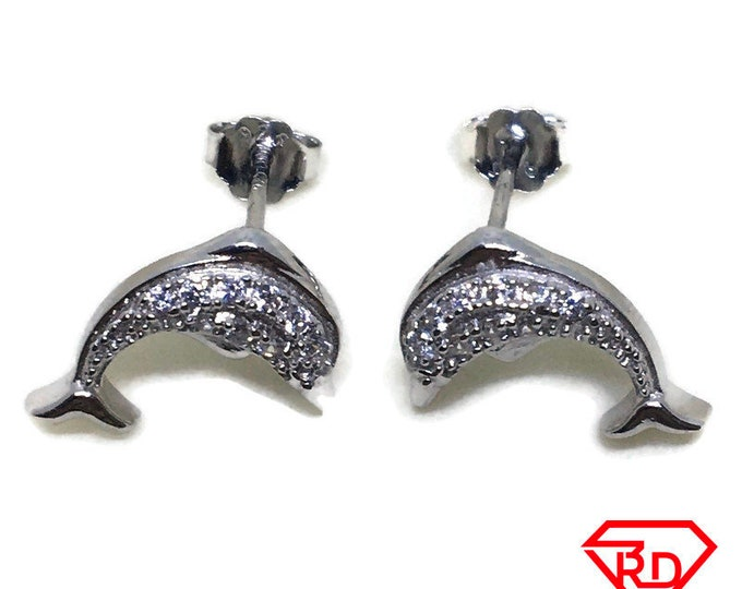 Cute Dolphin with white CZ stud Earrings White gold layer