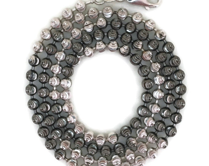 """black & White gold layer on silver necklace beads chain 18"""""""
