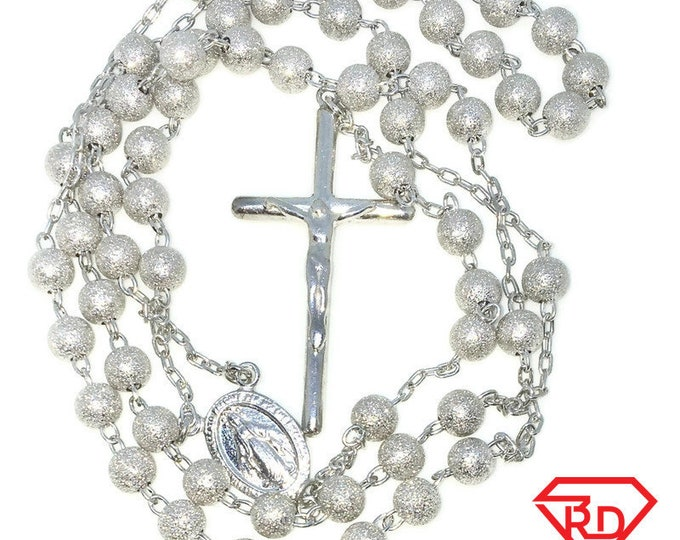 New White Gold Layered 925 Solid Sterling Silver 24 inch Necklace and 5 inch Cross chain Rosary