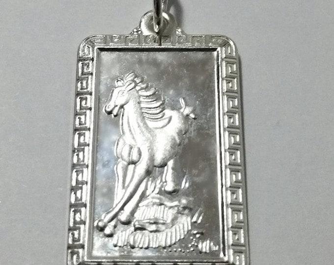 Chinese Zodiac Horoscope 999 fine Silver Rectangle Year of Horse Pendant charm