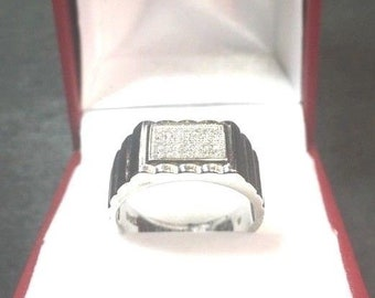 New cubic zirconia handmade 14k layer on 925 silver men rectangle ring size-9
