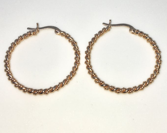 New 14k Pink Gold on 925 Sterling Silver Double Strings Twisted in Hoop Earrings ( 2 . 8  mm )