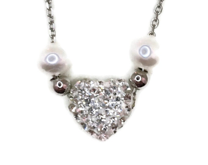 White Gold layer Silver Pendant Heart & white round CZ with pearl