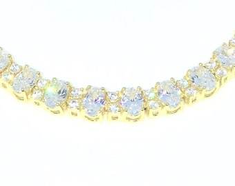 New Yellow Gold Layered 925 Solid Sterling Silver 7 inch 4 Prong Round & Oval White CZ Tennis Bracelet with Box Clasp