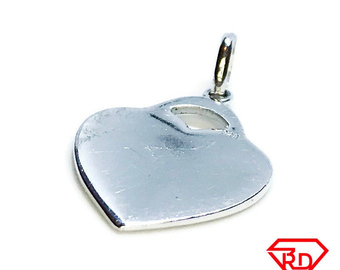 NEW 14K White Gold Layered on .925 Sterling Silver Heart Pendant