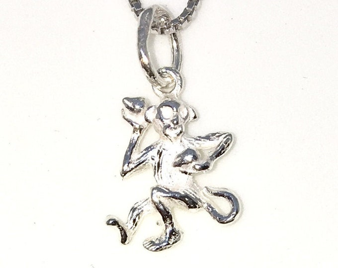 New 925 Silver Tiny Pendant with Monkey Zodiac and Free chain