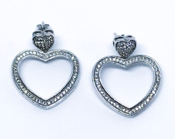 14K white gold on sterling silver dangling double heart earrings