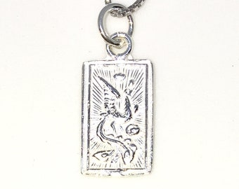 Brand New 925 Solid Sterling Silver Tiny Pendant with Dragon and Phoenix Rectangle shape and Free chain