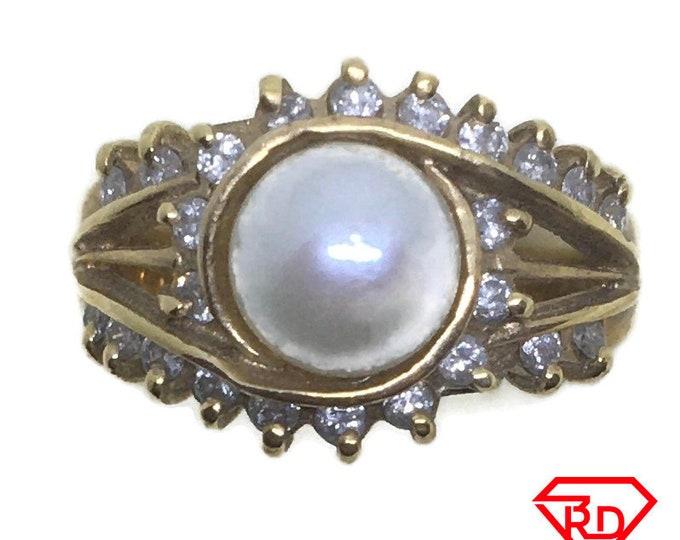 Eye shape Diamond pearl ring 14k yellow gold S6