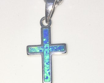 New White Gold on 925 Sterling Silver Pendant Small Cross with Purple Sea Shell with 16 inch Silver Chain ( 12 . 4 mm )