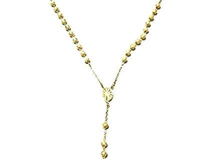 """Heavy Catholic Gold Layer Silver Rosary Beads Necklace Crucifix 5 mm 28"""""""
