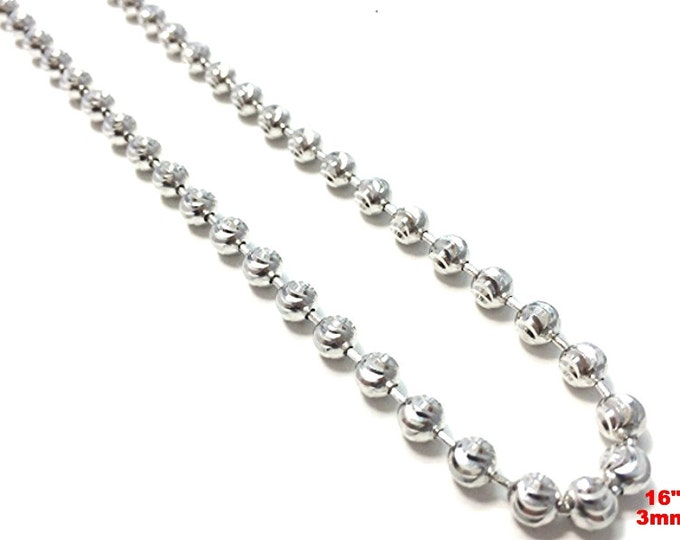 18k white gold layered over .925 sterling silver moon cut chain 3 mm 16 ""
